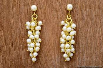 UNIQUE HANDMADE REAL PEARLS BAALI/EARRINGS/HANGINGS FROM HYDERABAD (GRAPES) - PCE1003