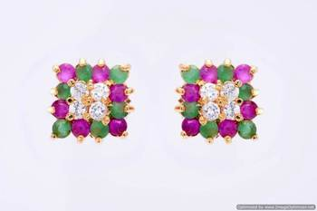 BEAUTIFUL STONE STUDDED SQUARE TOPS/EARRINGS/STUDS (AD RUBY EMRALD) - PCE1006
