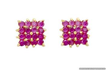 BEAUTIFUL STONE STUDDED SQUARE TOPS/EARRINGS/STUDS (RUBY) - PCE1010