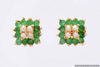 BEAUTIFUL STONE STUDDED SQUARE TOPS/EARRINGS/STUDS (PEARL EMRALD) - PCE1015