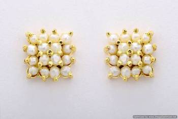 BEAUTIFUL STONE STUDDED SQUARE TOPS/EARRINGS/STUDS (PEARL) - PCE1017