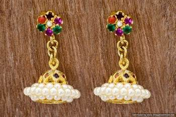 ETHNIC AD STONE STUDDED JHUMKA/HANGINGS/EARRINGS (NAVRATNA) - PCE1025