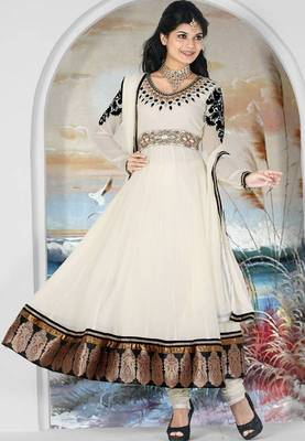 Cream color faux georgette embroidery ready made 36 size anarkali