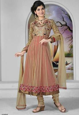 Beige color net embroidery lace work semi stitched anarkali suit with santoon inner and chiffon dupatta