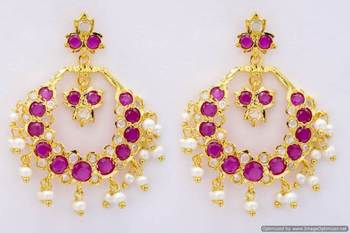 ROYAL STONE STUDDED REAL PEARL DROPS CHAAND BAALI/HANGINGS/EARRINGS (AD RUBY) - PCE1047