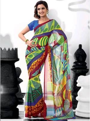Kalazone Multi Colored Georgette Printed Saree:WSV31933