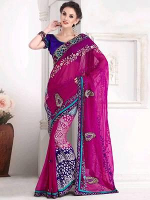 Kalazone Pink Purple Designer Saree:WSV32220