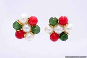 7 PEARLS FLOWER SHAPED TOPS/STUDS/EARRINGS FROM HYDERABAD (PEARL JADE CORAL) - PCE1066