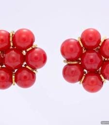 Buy 7 PEARLS FLOWER SHAPED TOPS/STUDS/EARRINGS FROM HYDERABAD (CORAL) - PCE1067 Other online