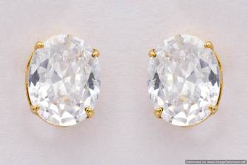 ELEGANT SINGLE STONE STUDDED OVAL TOPS/STUDS/EARRINGS (AD) - PCE1082