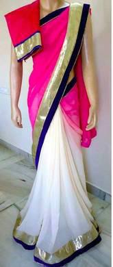 Rocking colours  pink & white half-half saree