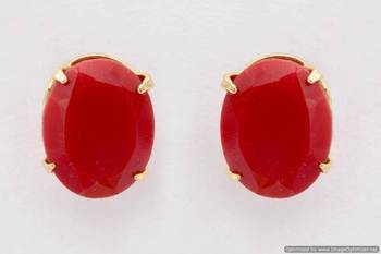 ELEGANT SINGLE STONE STUDDED OVAL TOPS/STUDS/EARRINGS (CORAL) - PCE1092