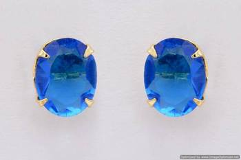 ELEGANT SINGLE STONE STUDDED OVAL TOPS/STUDS/EARRINGS (BT BLUE) - PCE1093