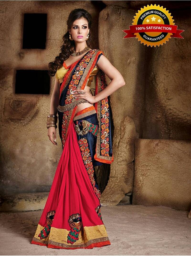 7fbefcf2524a2e Blue and Red embroidered georgette saree with blouse - Global ...