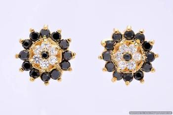 FABULOUS STONE STUDDED ROUND FLOWER TOPS/STUDS/EARRINGS (AD BLACK) - PCE1103