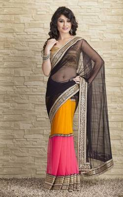Designer three shade saree
