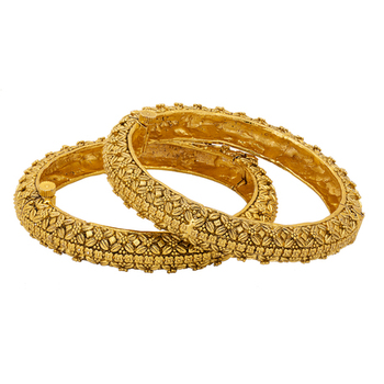 Gold Plated Antique Ethnic Bangle Set With Floral Pattern