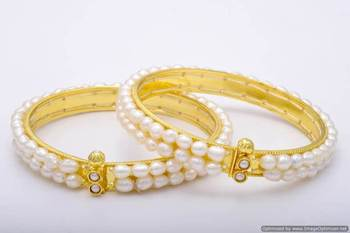 REAL SEED PEARLS DOUBLE LINE BANGLES SET FROM HYDERABAD (2PCs) - PCB1016
