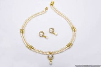 DOUBLE STRING ROUND LOCKET PEARLS SET FROM HYDERABAD - PCN1015