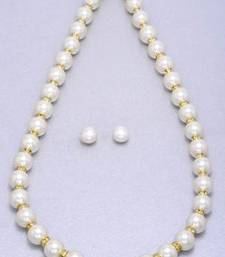 Buy 10MM SHELL PEARLS & AD CHAKRI SET WITH EARRINGS FROM HYDERABAD - PCN1018 Necklace online