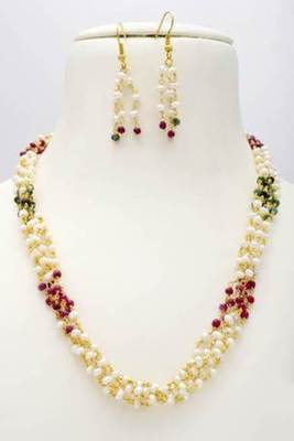 EXCLUSIVE 5 LINE REAL PEARLS RUBY EMRALD TAAR MALA FROM HYDERABAD - PCN1023