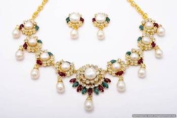 PEARLS & STONES NECKLACE SET FROM HYDERABAD (AD RED GREEN) - PCN1044