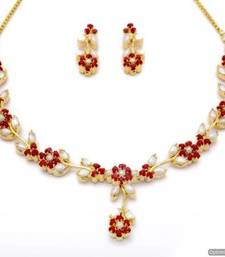 Buy LILY NECKLACE SET WITH EARRINGS (PEARL CORAL) - PCN1063 Necklace online