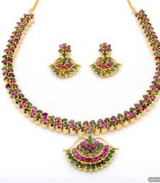 Buy BELL NECKLACE SET WITH EARRINGS (RUBY EMRALD) - PCN1064 Necklace online