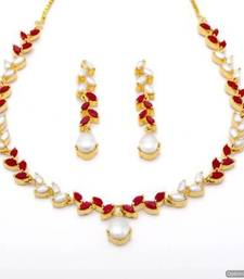 Buy FLOWER LEAF NECKLACE SET WITH EARRINGS (PEARL CORAL) - PCN1070 Necklace online