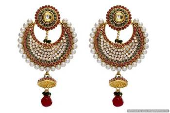 ANTIQUE GOLDEN STONE STUDDED CHAAND BAALI EARRINGS/HANGINGS (RED GREEN)  - PCAE2003