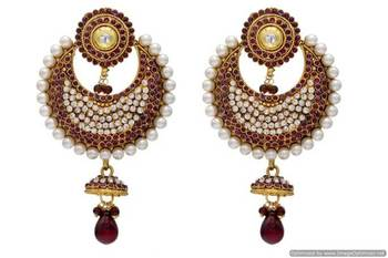 ANTIQUE GOLDEN STONE STUDDED CHAAND BAALI EARRINGS/HANGINGS (VIOLET)  - PCAE2006