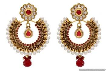 ANTIQUE GOLDEN STONE STUDDED ROUND CHAAND BAALI EARRINGS/HANGINGS (RED)  - PCAE2012