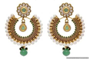 ANTIQUE GOLDEN STONE STUDDED ROUND CHAAND BAALI EARRINGS/HANGINGS (GREEN)  - PCAE2013