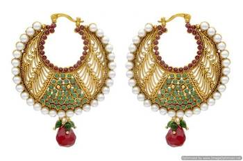 ANTIQUE GOLDEN STONE STUDDED ROUND CHAAND BAALI EARRINGS/HANGINGS (RED GREEN)  - PCAE2018