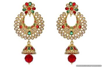 ANTIQUE GOLDEN STONE STUDDED EARRINGS/HANGINGS (RED GREEN)  - PCAE2019