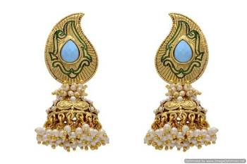 ANTIQUE GOLDEN STONE STUDDED KAIRI SHAPED EARRINGS/HANGINGS (TURQUOISE)  - PCAE2035