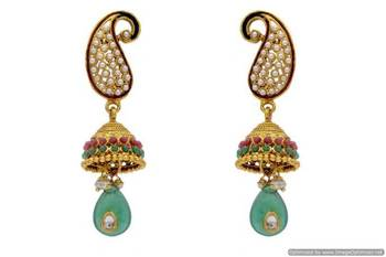 ANTIQUE GOLDEN STONE STUDDED KAIRI SHAPED EARRINGS/HANGINGS (RED GREEN)  - PCAE2051