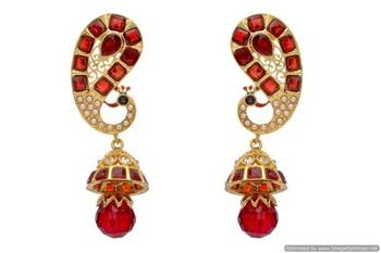 ANTIQUE GOLDEN STONE STUDDED PEACOCK EARRINGS/HANGINGS (RED)  - PCAE2053