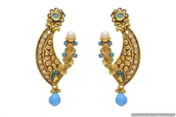 ANTIQUE GOLDEN STONE STUDDED EARRINGS/HANGINGS (TURQUOISE)  - PCAE2065