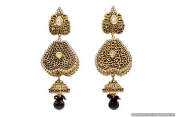 ANTIQUE GOLDEN STONE STUDDED REVERSABLE 2 WAY USE EARRINGS/HANGINGS (BLACK)  - PCAE2069