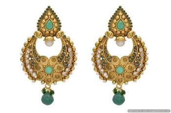 ANTIQUE GOLDEN STONE STUDDED FLOWER STYLE CHAAND BAALI EARRINGS/HANGINGS (GREEN)  - PCAE2073