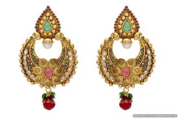 ANTIQUE GOLDEN STONE STUDDED FLOWER STYLE CHAAND BAALI EARRINGS/HANGINGS (RED GREEN)  - PCAE2074