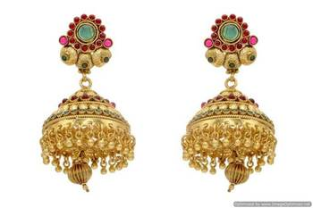 ANTIQUE GOLDEN TRADITIONAL STONE STUDDED EARRINGS/HANGINGS (POTA RED GREEN)  - PCAE2079