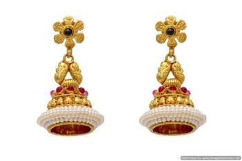 ANTIQUE GOLDEN TRADITIONAL STONE STUDDED EARRINGS/HANGINGS (POTA RED GREEN)  - PCAE2087