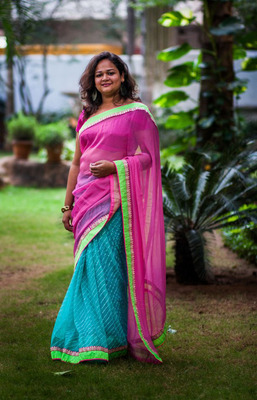 Teal leheriya and pink georgette half and half saree