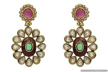 ANTIQUE GOLDEN STONE STUDDED KUNDAN MEENA EARRINGS/HANGINGS (RED GREEN)  - PCAE2098