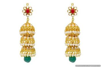 ANTIQUE GOLDEN STONE STUDDED 3 STEP KUNDAN EARRINGS/HANGINGS (RED GREEN)  - PCAE2100
