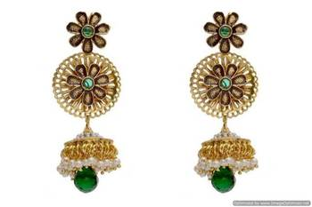 ANTIQUE GOLDEN STONE STUDDED JAALI WORK FLOWER EARRINGS/HANGINGS (GREEN)  - PCAE2108