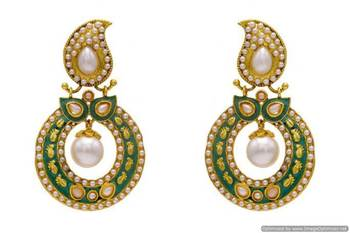 ANTIQUE GOLDEN STONE STUDDED KAIRI ROUND CHAAND BAALI EARRINGS/HANGINGS (PEARL GREEN)  - PCAE2118