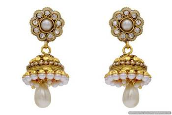 ANTIQUE GOLDEN STONE STUDDED FLOWER STYLE EARRINGS/HANGINGS (PEARL)  - PCAE2125